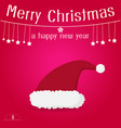 santa claus red hat on red background merry vector image