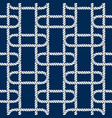 seamless nautical rope pattern white on dark blue vector image vector image