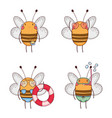 set bee with glasses and swimsuit with float vector image