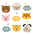 set isolated baanimals faces and clouds vector image vector image