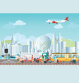 set of transportation logistic and city traffic vector image vector image