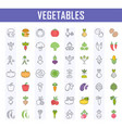 set of vegetables on white vector image vector image