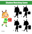 shadow matching game kids activity with girl vector image