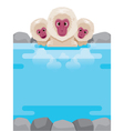 Snow Monkey Relaxing In Hot Spring Frame vector image vector image
