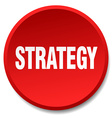 strategy red round flat isolated push button vector image vector image