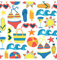 summer sunbathing beach items flat seamless vector image