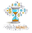 time is money concept hourglass and dollar icons vector image