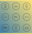 transport icons line style set with scooter city vector image vector image