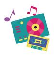 turntable vinyl record vinyl cassette music vector image vector image