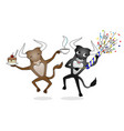 two cheerful bulls jumping vector image vector image