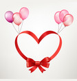 valentines day frame with red ribbon and balloons vector image