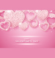 valentines day horizontal background with shining vector image vector image