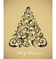 vintage christmas tree with retro ornaments vector image