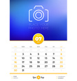 Wall Calendar Template for 2017 Year July Design