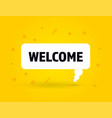 welcome speech bubble banner pop art memphis style vector image