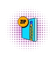 ZIP file icon in comics style vector image vector image