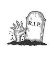 zombie dead man hand out grave sketch vector image