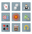 flat style colored various gambling icons vector image