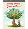 A boy under the money tree vector image vector image