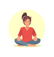 beautiful woman in lotus pose vector image vector image