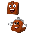 Brown leather wallet and purse characters vector image