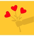 Businessman shadow hand holding bunch bouquet of vector image vector image