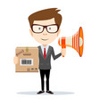businessman with a megaphone carrying a paper box vector image vector image