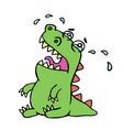 cartoon crying dinosaur vector image vector image