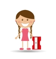 cheerful girl study sharpener design vector image