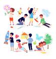children drawing on floor cartoon girl draw vector image vector image