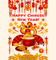 chinese new year gold symbols greeting card vector image vector image