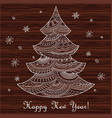 christmas card with hand drawn decorated fir-tree vector image
