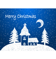 Christmas church with snow at night vector image vector image