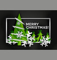 christmas tree cut paper art modern minimal vector image