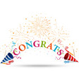 Congratulations celebration with fireworks vector image vector image