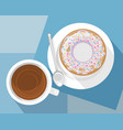 cup of coffee and dessert vector image