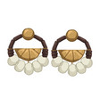 earrings with stones and beads threads and metal vector image