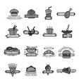 fast food icons sushi seafood and bakery vector image vector image