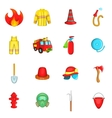 Fireman icons set cartoon style vector image vector image