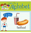 Flashcard letter F is for fastfood vector image vector image