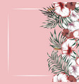 flowers right frame tropical pink background vector image vector image