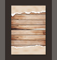 grunge paper on wooden wall design vector image vector image