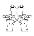 hands holding giftbox pop art in black and white vector image vector image
