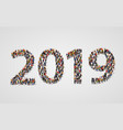 happy new year 2019 large and diverse group of vector image vector image