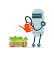 housemaid robot character with watering can vector image vector image