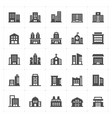 icon set - building filled icon style vector image