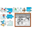 jigsaw puzzle pieces of boys playing in snow vector image vector image