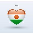 Love Niger symbol Heart flag icon vector image vector image