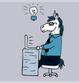 lovely hand-drawn unicorn-manager vector image vector image