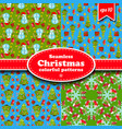 merry christmas seamless pattern set vector image vector image